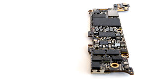 Smartphone circuit board isolate, Selective focus Stock Photography