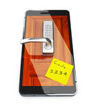 Smartphone with closed lock, 3d illustration Stock Photography