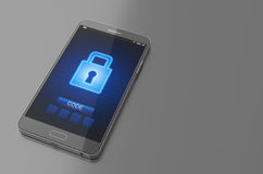 Smartphone with closed lock screen. 3D Illustration Stock Photo