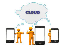 Smartphone cloud. Figurines standing near smartphones virtually connected to a cloud Stock Photos