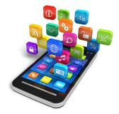 Smartphone with cloud of application icons Stock Images