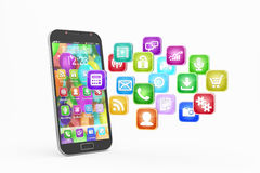 Smartphone with cloud of application icons Royalty Free Stock Images