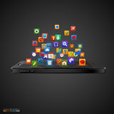 Smartphone with cloud of application icons. Isolated black background Royalty Free Stock Images