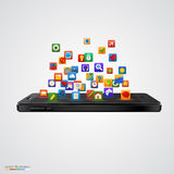 Smartphone with cloud of application icons. Royalty Free Stock Photos