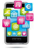 Smartphone with cloud of applications. Stock Photo