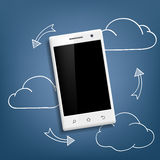 Smartphone and cloud data storage Royalty Free Stock Photos
