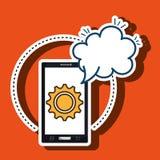 smartphone cloud gear speak Stock Photo