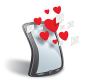 Smartphone with cloud of sms simbols and hearts Royalty Free Stock Images