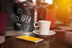 Smartphone with coffee and communication flat icons. Technology. Digital community concept Stock Photography