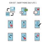 Smartphone, collection mobile d'icône réglée avec des concepts de vie quotidienne illustration libre de droits