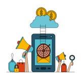 Smartphone coloré réglé de fond blanc avec des escaliers pour opacifier la sécurité d'argent de stockage illustration stock