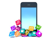 Smartphone with color application icons Royalty Free Stock Photography
