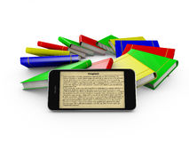 Smartphone and colored books Royalty Free Stock Photo