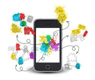 Smartphone with colored business sketches Royalty Free Stock Photos