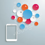 Smartphone With Colored Speechbubbles Circles Royalty Free Stock Photos