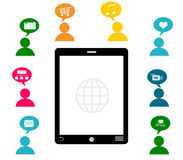 Smartphone with colorful people icons Royalty Free Stock Photos