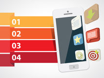 Smartphone com ícones 3d com informações gráficas Fotografia de Stock Royalty Free