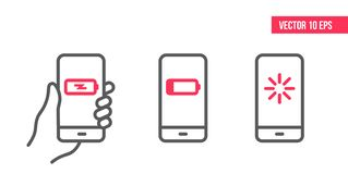 Smartphone com atualização, ícone de carregamento do vetor Linha de telefone celular ícone Ilustração do elemento do projeto do v ilustração do vetor