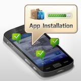 Smartphone com bolha da mensagem sobre o installat do app Foto de Stock Royalty Free
