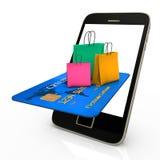 Sacos de compras móveis Fotos de Stock