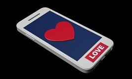 Smartphone com coração na tela Foto de Stock Royalty Free