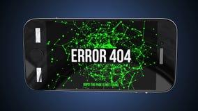 Smartphone com erro não encontrado 404 da página ilustração stock