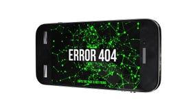 Smartphone com erro não encontrado 404 da página ilustração do vetor