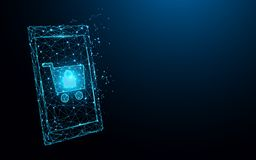 Smartphone com linhas em linha de compra do formulário, triângulos e estilo da partícula projeta ilustração stock