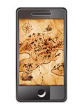 Smartphone com mapa do tesouro imagem de stock