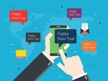 Smartphone com mensagem do ano novo feliz Fotos de Stock Royalty Free