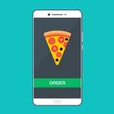 Smartphone com pizza na tela Conceito do fast food da ordem Ilustração lisa do vetor Fotos de Stock Royalty Free
