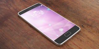 Smartphone com a tela roxa no fundo de madeira ilustração 3D Fotografia de Stock Royalty Free