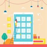 Smartphone Commercieel met Kleine Vrouw op Ladder stock illustratie