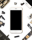 Smartphone Components Isolate On White Stock Photography