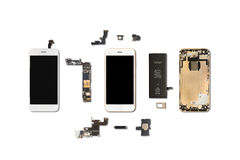 Smartphone components isolate on white Royalty Free Stock Photography
