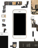 Smartphone components isolate on white Stock Photos