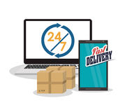 Smartphone computer box package icon. Computer smartphone box package fast delivery shipping icon. Colorfull illustration. Vector Royalty Free Stock Images