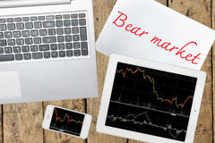 Smartphone, computer, paper with bear market text and tablet wit Stock Photo