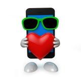 Smartphone con cuore Fotografia Stock Libera da Diritti