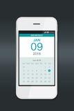 Smartphone con el calendario Imagenes de archivo