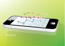 Smartphone con el gráfico de negocio Foto de archivo libre de regalías