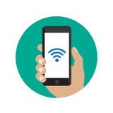 Smartphone con el icono del Wi-Fi Imagen de archivo