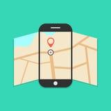 Smartphone con el mapa abierto aislado en verde Imágenes de archivo libres de regalías