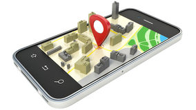 Smartphone con el mapa inalámbrico del navegador GPS Imágenes de archivo libres de regalías