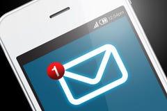 Smartphone con el nuevo icono del mensaje Fotos de archivo