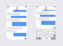 Smartphone con el SMS app de la mensajería Teclado del móvil del whith de la plantilla del app de la charla Concepto social de la ilustración del vector