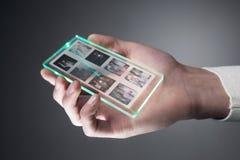 Smartphone con esposizione trasparente Immagine Stock Libera da Diritti