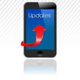 Smartphone con gli aggiornamenti, aggiornamento mobile royalty illustrazione gratis