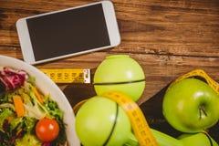 Smartphone con gli indicatori dello stile di vita sano Immagine Stock
