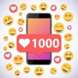 Smartphone con gustos y la sonrisa de la notificación 1000 para los medios sociales libre illustration